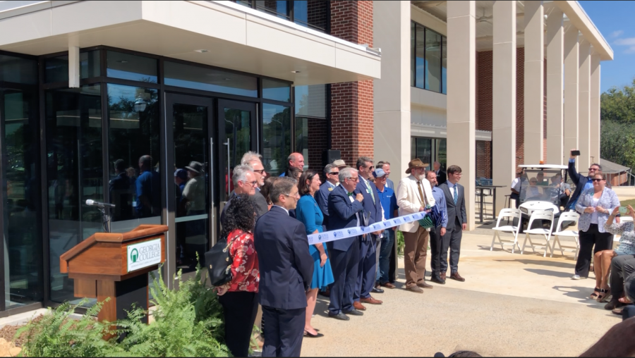 GC President Dr. Steve Dorman prepares to cut the ribbon on the Integrated Science Complex September 29, 2021.